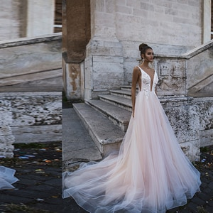 Sexy Deep V-Neck Appliques Lace Backless Elegant Custom Made  Robe De Marie Boho Bridal Gowns Tulle A-Line Wedding Dress 2020