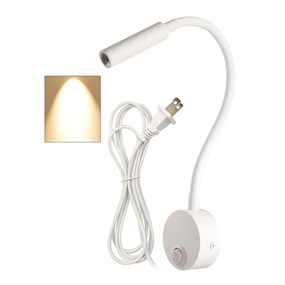 Lámpara de pared moderna de lectura de 3000K, apliques de luz COB de 3W de largo brazo, foco blanco, cuerpo negro plateado para mesita de noche, estantería, mesa de trabajo
