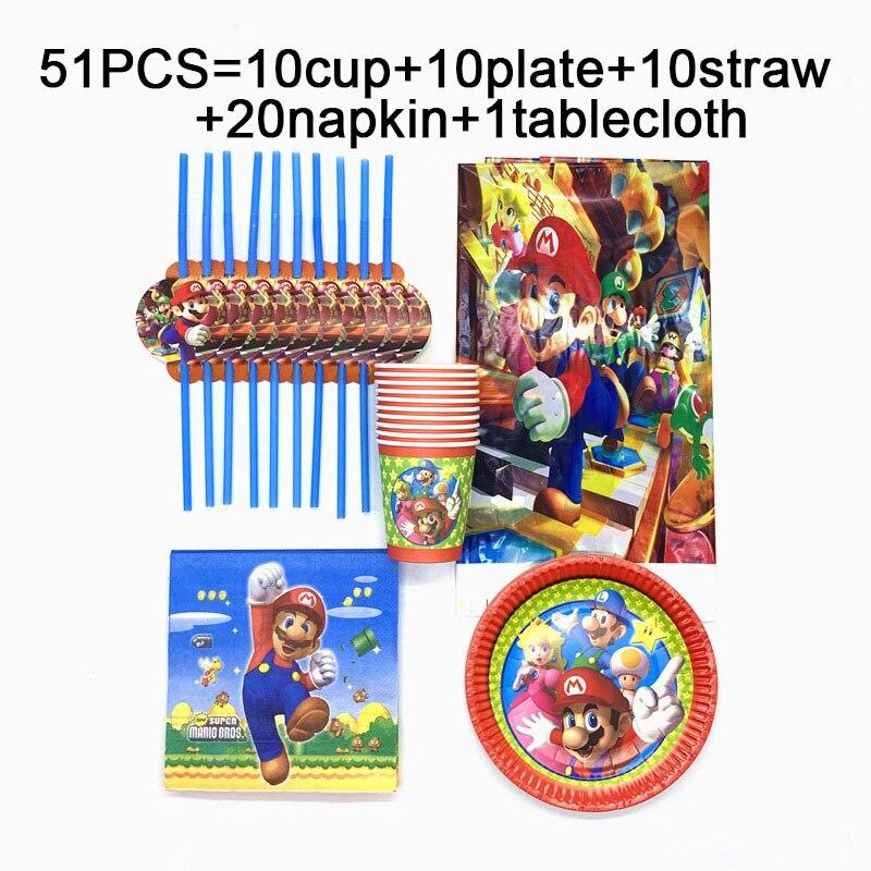51 teile/satz Super Mario Bros einweg tischdecken tassen platten servietten strohhalme Mario Bros geburtstag party set geschirr liefert