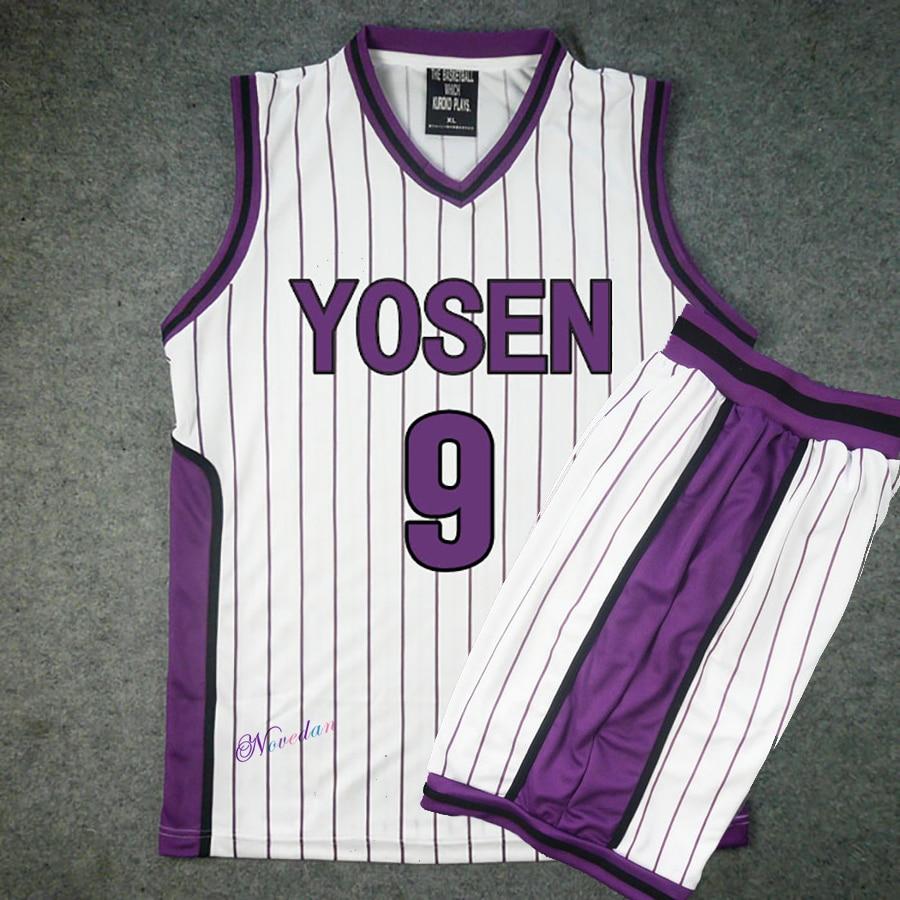 Kuroko no Basuke/Basket Cosplay Yosen School Uniform Murasakibara Atsushi Jersey Sportswear 9 12 Men T Shirt Shorts Costume Set