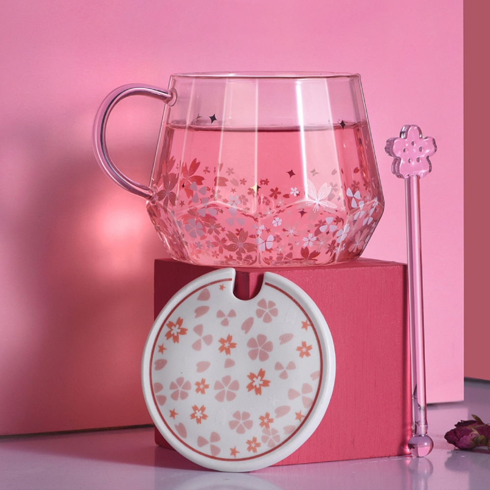 زهر الكرز الوردي الزجاج مع غطاء عالية البورسليكات مقاومة للحرارة كوب ماء لطيف اثارة ملعقة فتاة فنجان القهوة فتاة هدية القدح