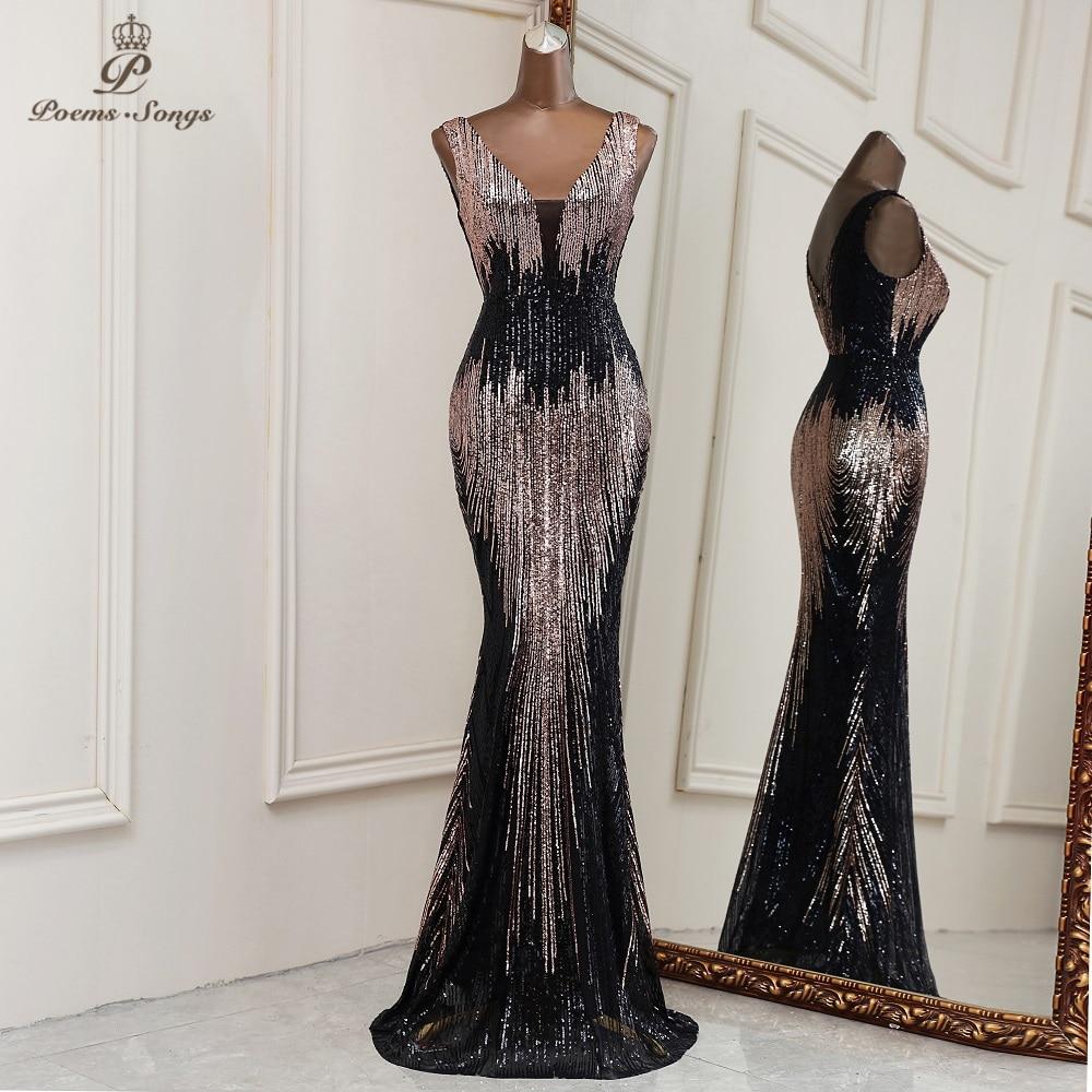 2021 New Sexy deep V neck style mermaid evening dresses vestidos formales vestidos de fiesta robe de soiree de mariage