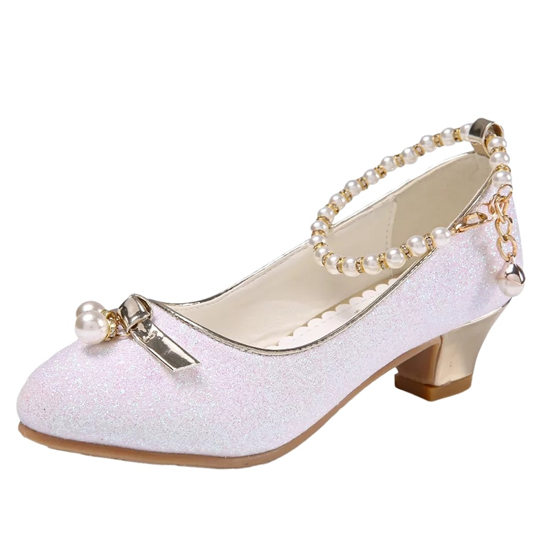 Children's Crystal Shoes New White Pupil High Heels 4-12 Years Girls Priness Shoes