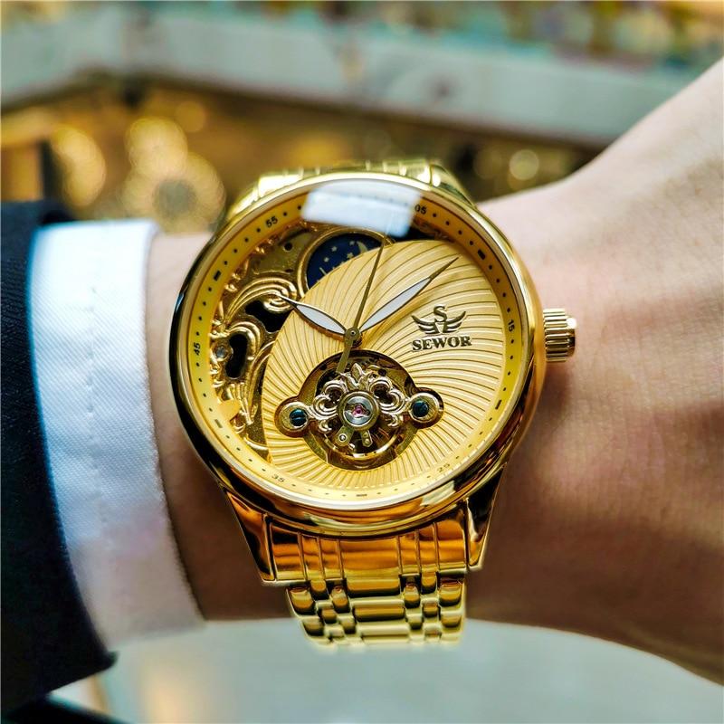 ساعة ميكانيكية عصرية فاخرة ساعة ذهبية للرجال ساعة رياضية غير رسمية ساعة عملية بأسلوب ريترو montre homme 2021