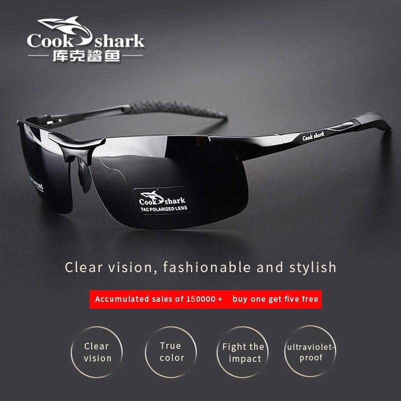كوك القرش جديد الألومنيوم المغنيسيوم النظارات الشمسية الرجال النظارات الشمسية HD الاستقطاب القيادة السائقين اللون نظارات المد
