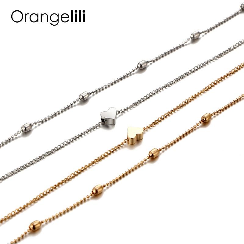 Collar de gargantilla de mariposa Orangelili, cuentas Bohemias de oro y plata con corazón para mujer, collar con colgante en el cuello OG005