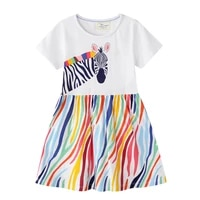 2 6 years toddler girls cotton dress whiteprinted tiger and rainbow baby kids summer outfit summer jersey clothes