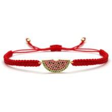 Cubic Zirconia CZ Brass Watermelon Charm Bracelet Women Girl Red String Macrame Square Knot Adjustable Fruit  Jewelry Present