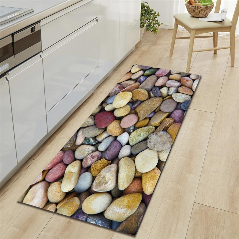 سجادة حجرية ملونة ثلاثية الأبعاد على أرضية المطبخ شريط أريكة السجاد السرير حصيرة إسفنجة لينة الحمام حصيرة ممسحة داخلي
