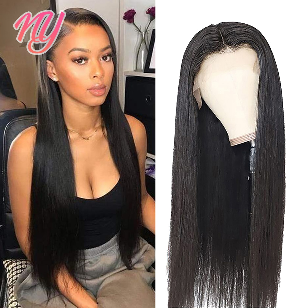 NY Straight transparent front closure human hair for women 13X4 frontal 4X4 closure Indian hair wigs 10 12 18 22 inch Bone