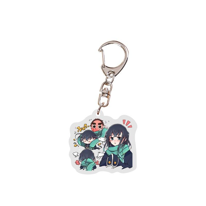 Llavero animé lindo Demon Slayer, llavero Kawaii de hoja de acrílico de fantasma, llavero clásico de Anime, ventiladores de anillo, regalos de joyería
