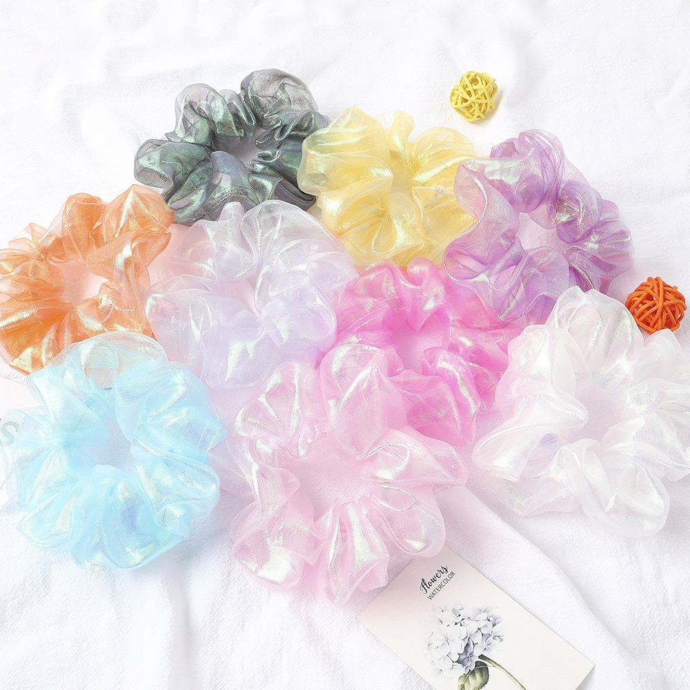 9pcs/lot Women Hair Ties Sets Candy Color Bright Organza Scrunchy Pack Bulk Schrunchy Lot Glitter Bling Hair Elastic