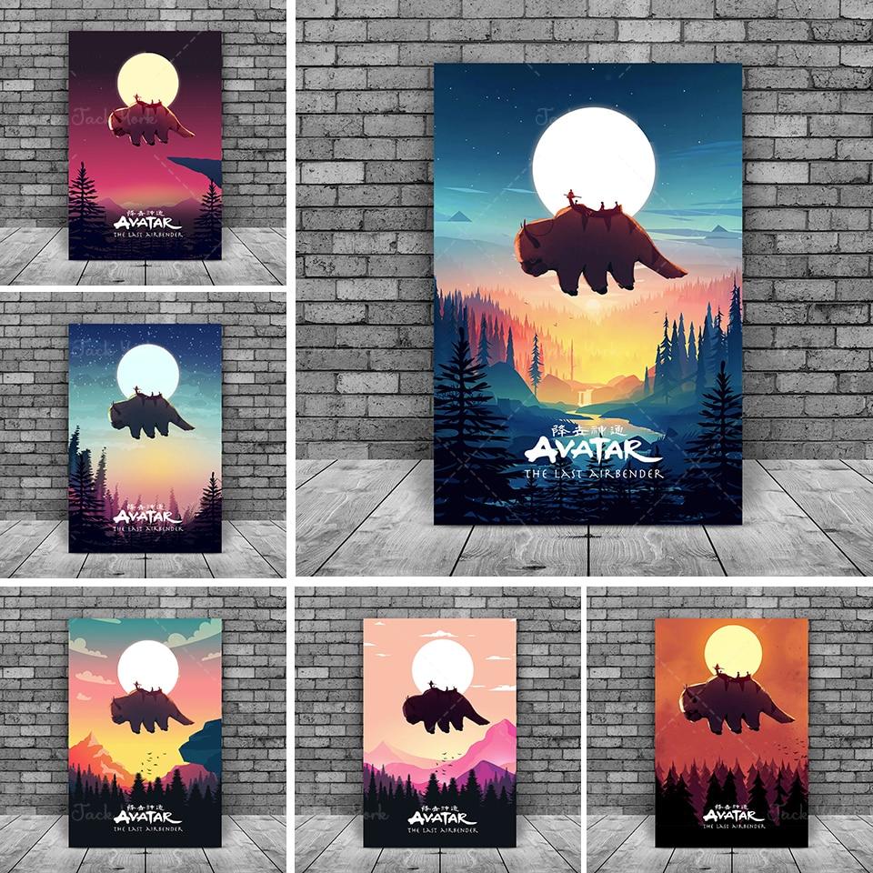 Плакат с Аватаром The Last Airbender, настенное искусство Aang Appa, плакат Aang Appa, настенное искусство с Аватаром, минималистское искусство