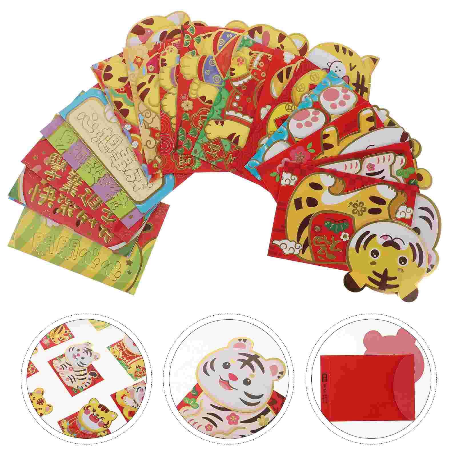 18pcs Exquisite Year of The Tiger Three-dimensional Red Envelopes Red Packets