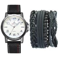 watch set mens casual creative pu strip quartz watch bracelet set 5 pieces luxury watch men trending products 2021