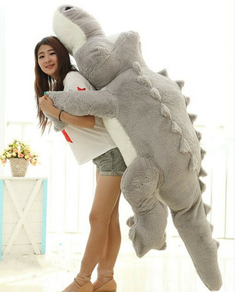 Gigante 2m grande pelúcia crocodilo cinza pelúcia animal brinquedo macio enorme almofada travesseiro animais de pelúcia