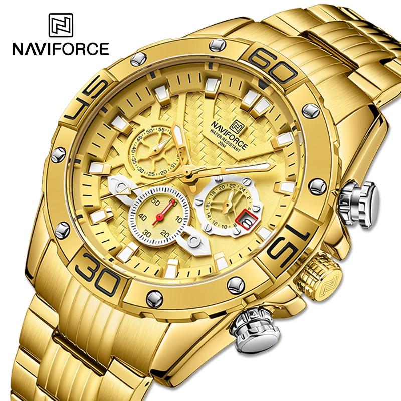 NAVIFORCE Men's Watches 2021 Luxury Gold Business Classic Quartz Clock Analog Chronograph Sport Wate