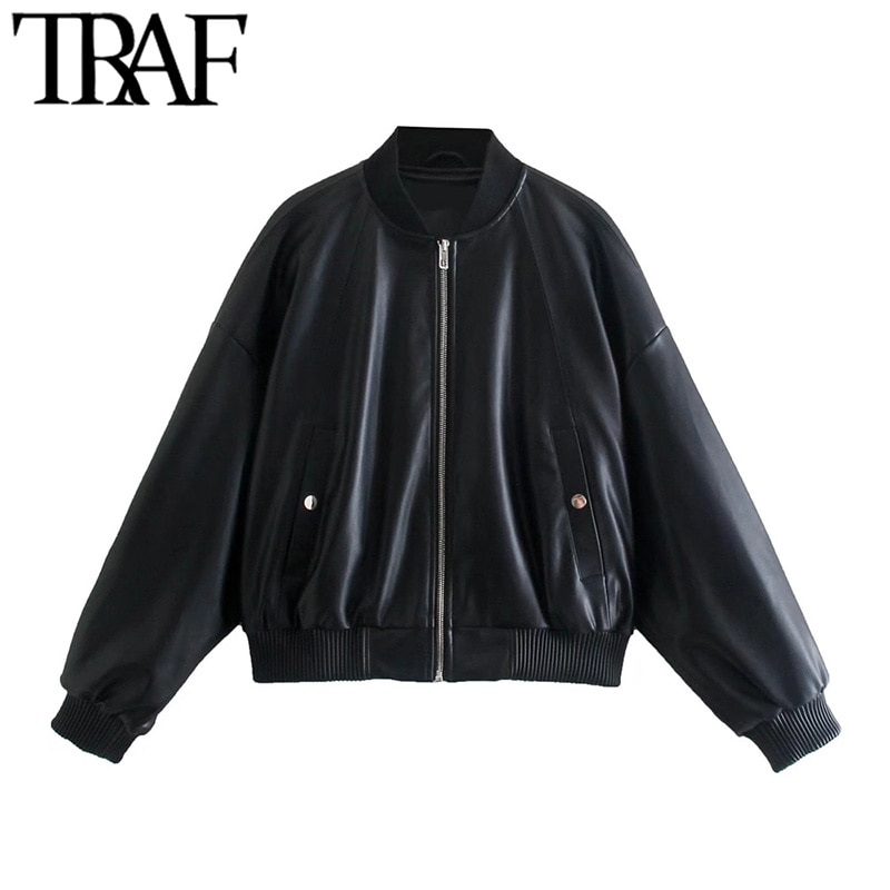 TRAF موضة النساء المتضخم فو الجلود Bomber سترة معطف Vintage كم طويل مطاطا هيم أنثى ملابس خارجية أنيقة القمم