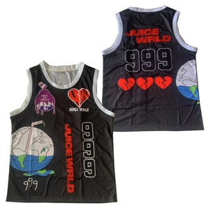 BG JUICE WRLD 999 caring Earth jersey Embroidery sewing Outdoor sportswear Hip-hop culture movie black summer basketball jerseys