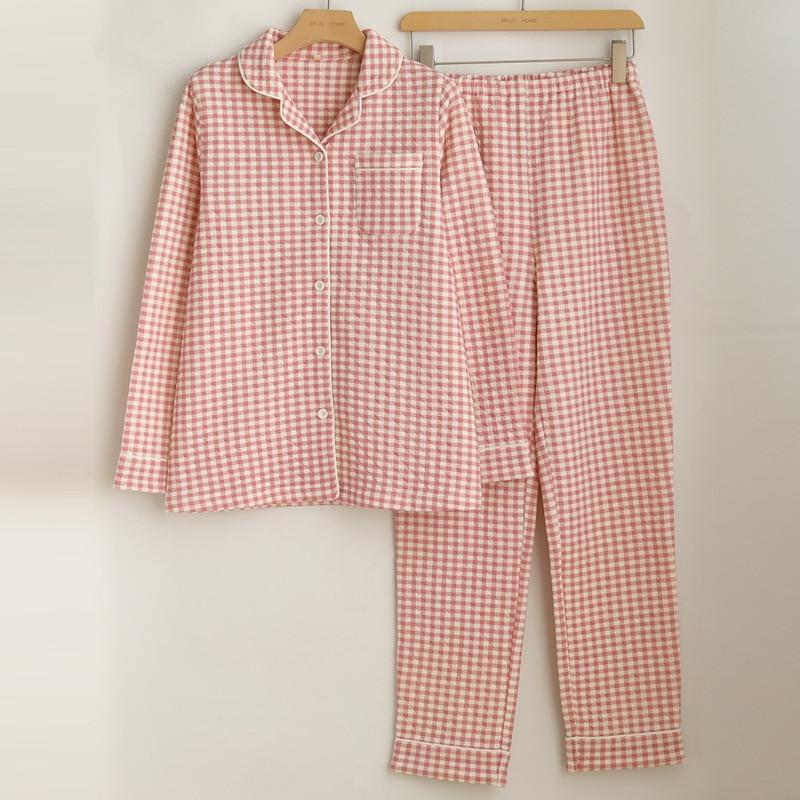 WIKISSPJS 2021 الجديد في زوجين منقوشة منامة اليابانية المنزلية دعوى المرأة قطعتين مجموعات ملابس النوم المتسكعون النوم