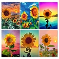 flowers painting by number sunflower diy kits for adults on canvas frame for drawing oil picture coloring by number home decor