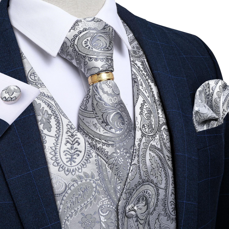 Мужской свадебный жаккардовый жилет с узором «пейсли», серебряный жилет, галстук-бабочка, комплект с золотым галстуком и кольцом, Вечерние ...