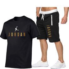 2021Summer Men's T-shirt Set 2-piece Men's Sportswear Suit Basketball Sports Fitness  Printed Short