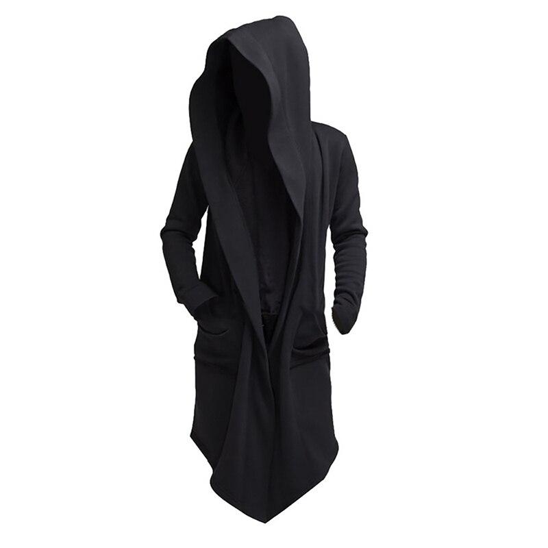 Мужская толстовка с капюшоном, черная толстовка с капюшоном в стиле хип-хоп, модная куртка с длинным рукавом, плащ, пальто, верхняя одежда, ли...