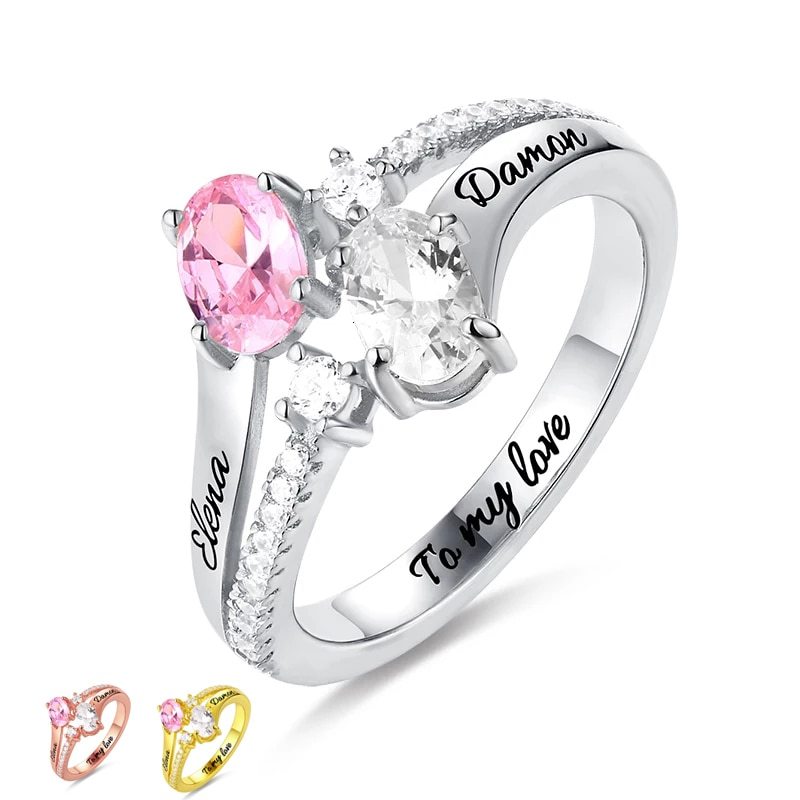 JrSr hot sell 925 sterling silver custom birthstone and engraved ring ladies unique design mothers day gifts Free shipping