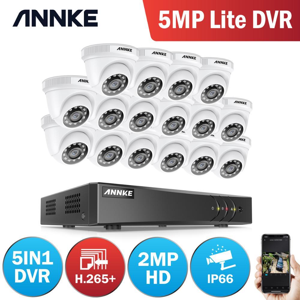 ANNKE 16CH 2MP HD sistema de vídeo de seguridad para el hogar H.265 + 5in1 5MP Lite DVR 16X 1080P Domo IR inteligente al aire libre impermeable CCTV cámaras