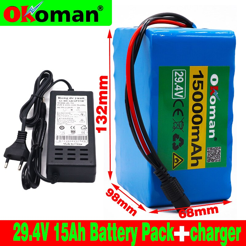 Paquete de batería 7s5p 24v 15Ah 250w 29,4 V 15000mAh batería de iones de litio para silla de ruedas batería de bicicleta eléctrica con BMS + cargador