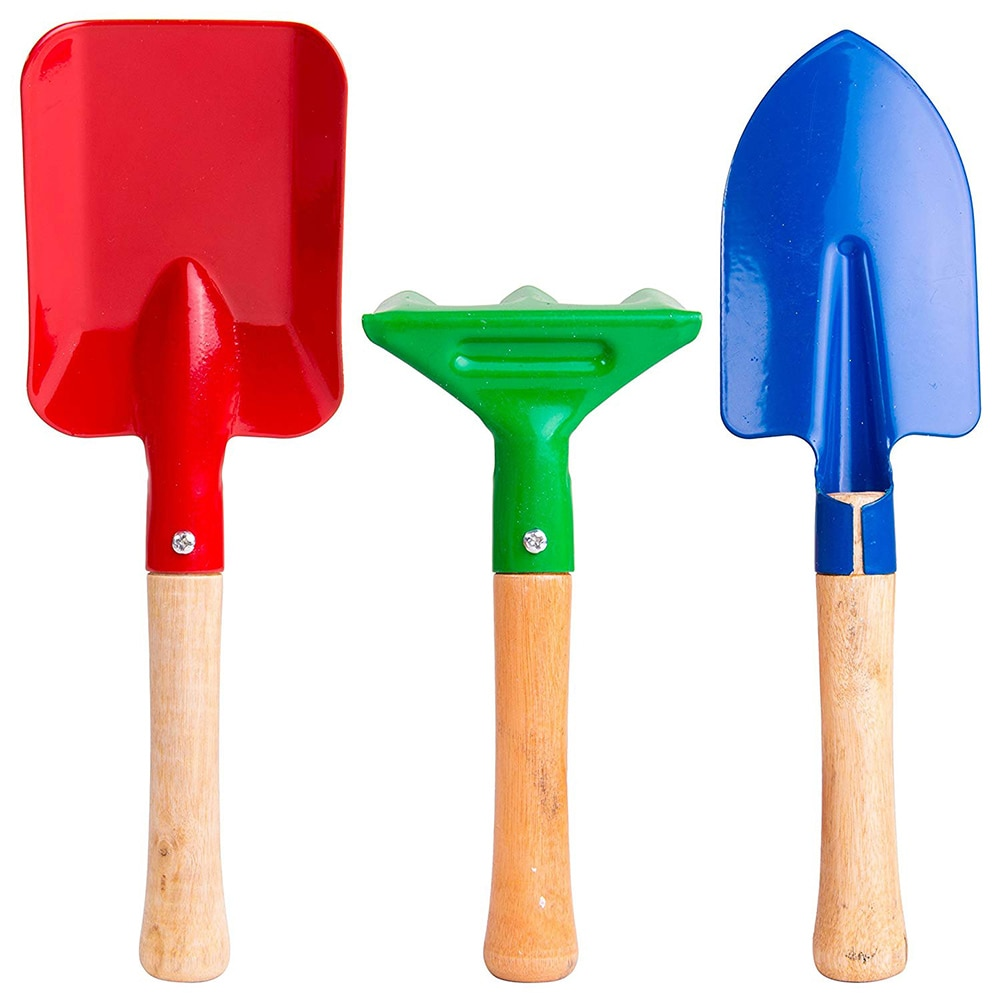 3pcs/set sand beach Kids Toy Short Wood Handle shovel sand rake doll sand beach toy doll casual fashion Gardening Tool