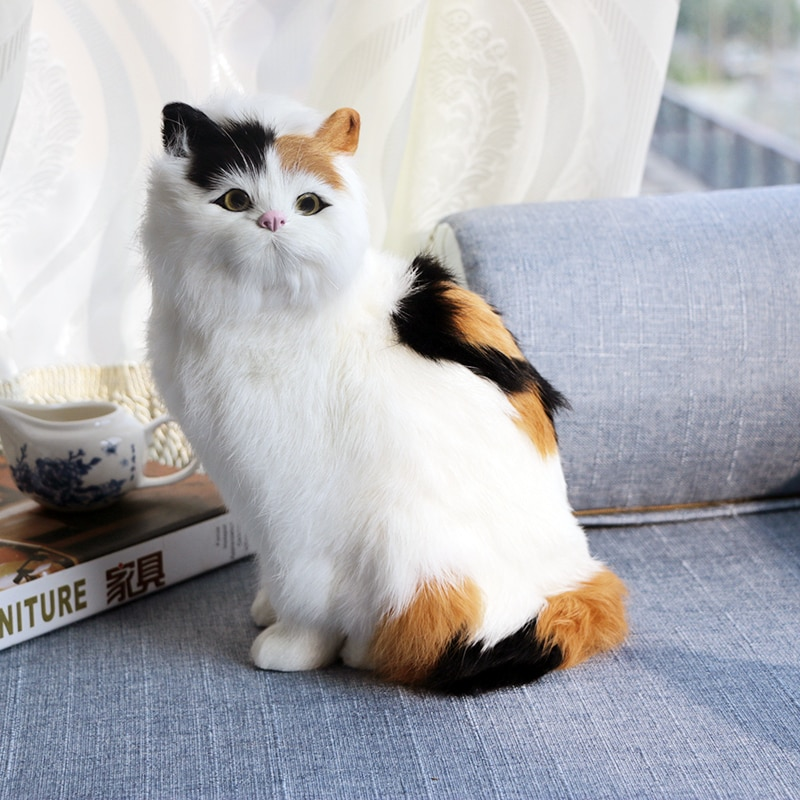 AliExpress - Realistic Crouching Cat Figure Hot Sale Kids Plush Toys Home Office Car Decoration Kitten Models