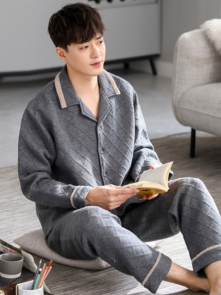 Pajamas Men's Spring and Autumn Thick Pure Cotton Long-Sleeved Home Wear Autumn and Winter Sandwich Air Cotton Quilted Cotton