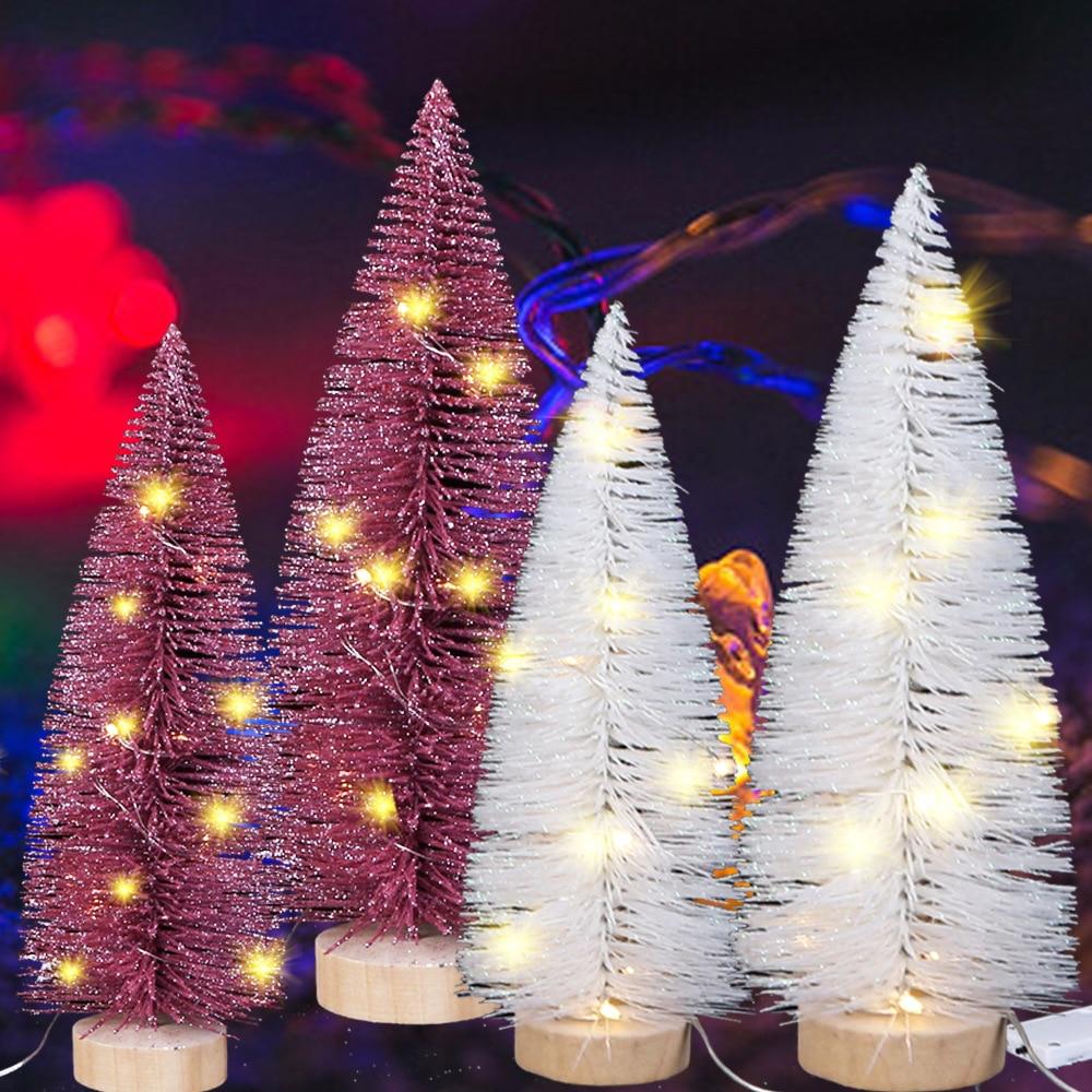 Mini exquisitos árboles de Navidad blanco rosa pequeño árbol con luces artesanía de Navidad regalos árbol de Navidad con purpurina accesorios de Navidad