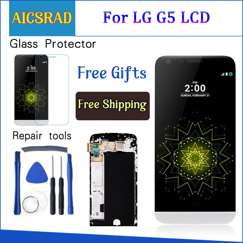 Display para lg g5 lcd tela de toque com quadro digitador para lg g5 lcd substituição da tela para lg g5 display original 5.3 original hh850