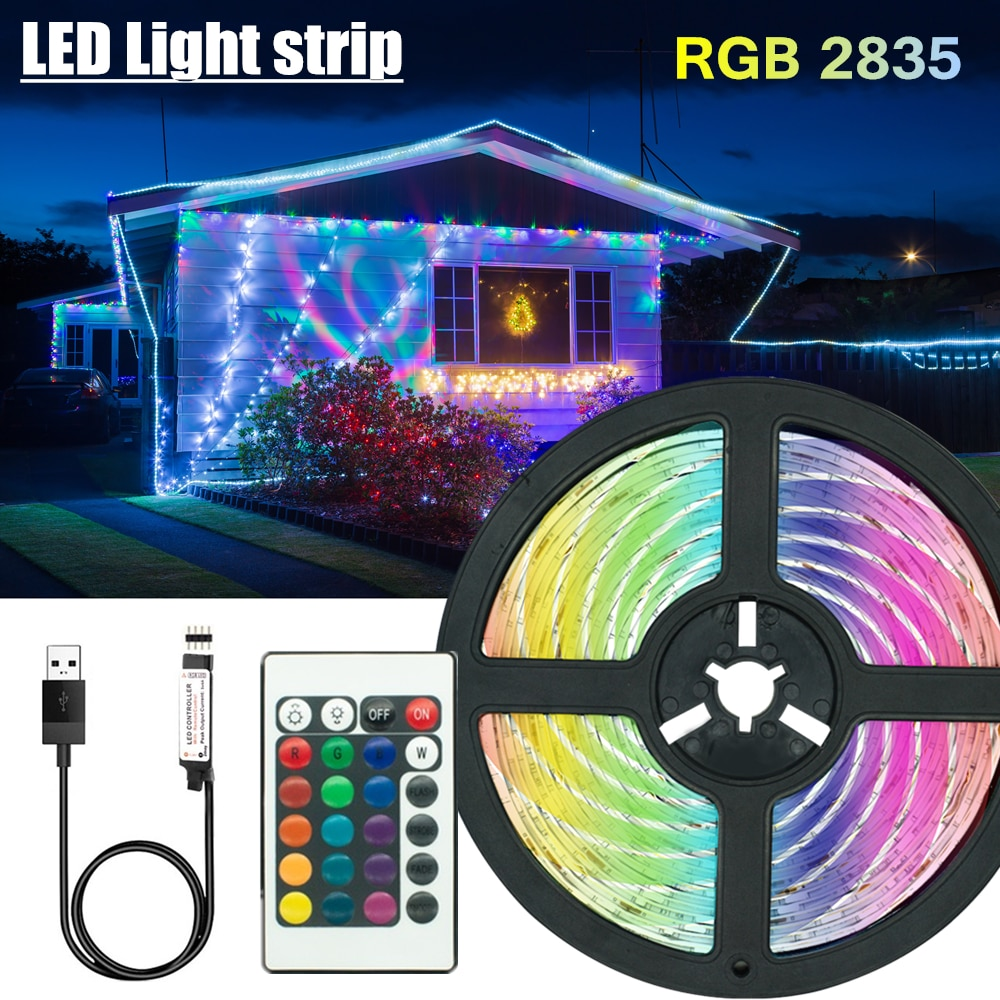 5V 2835 LED Light Strips Decoration Lighting USB Infrared Remote Controller Ribbon Lamp For Festival