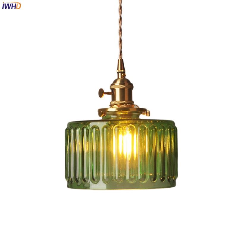 IWHD خمر الأخضر الزجاج قلادة مفتاح الإضاءة غرفة نوم بار بجانب النحاس الشمال مصباح معلق إضاءة داخلية المنزل lumaria LED