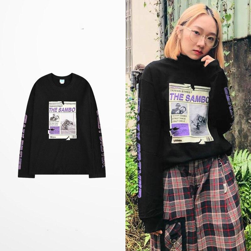 Camiseta Ss16 para hombre, camiseta de manga larga holgada con letras Harajuku naranja Vintage de Corea, ropa informal estilo Hip Hop, camiseta de Skateboard Kanye Homme