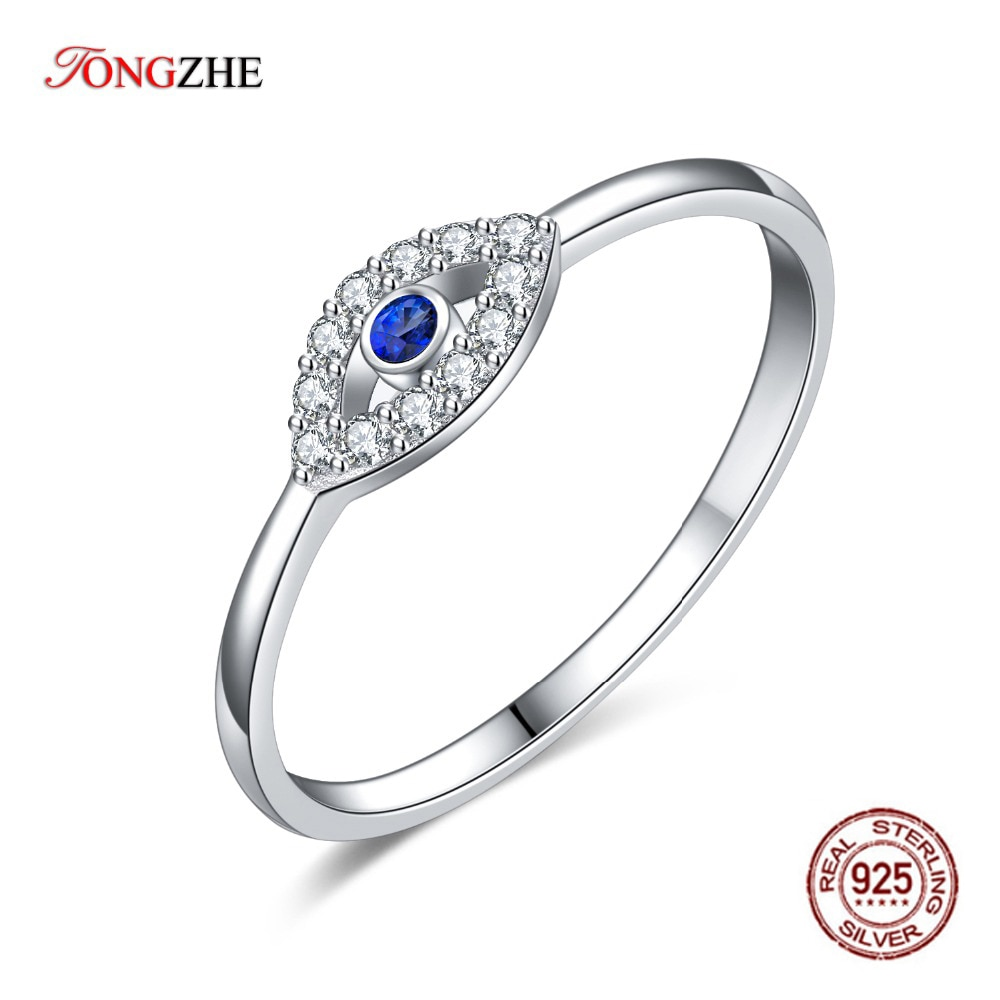 Anillo TONGZHE de plata de ley 925, anillos de pareja de oro azul blanco, anillos de la suerte para boda, ojo malvado para mujeres, joyería fina