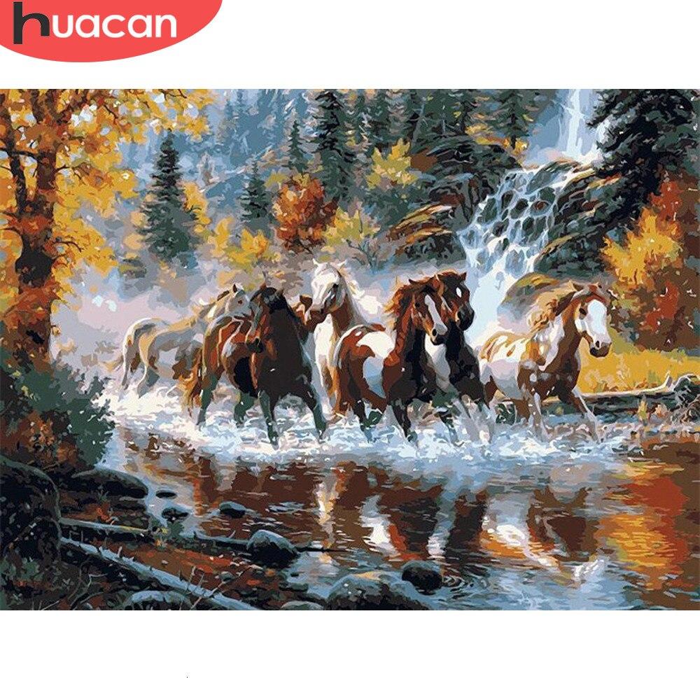 HUACAN краска по номерам для взрослых наборы животных Рисование холст ручная краска ed Horse Картина DIY Искусство украшение дома подарок