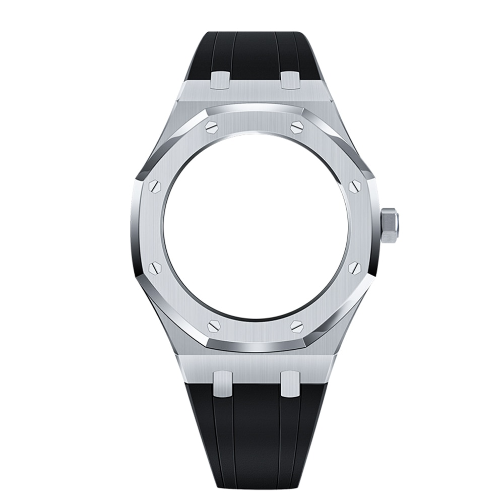 4th GA2100/2110 Generation Octagonal Metal Bezel with Crown Fluorine Rubber Band for Jeraland Modification 316 Stainless Steel enlarge