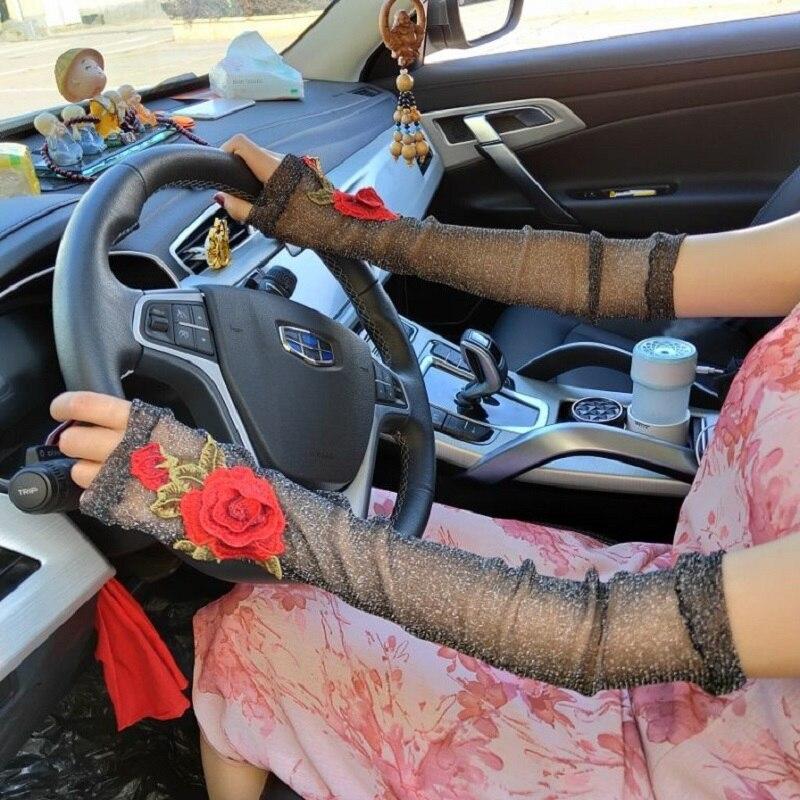 Женские длинные перчатки с вышивкой, пикантные длинные перчатки без пальцев, женские эластичные сексуальные перчатки на запястье с защитой...