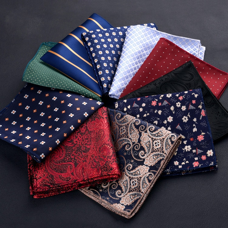 New Handkerchief for Mens Suits Small Pocket Square for Wedding Scarves Vintage Fabric Scarf Hankies