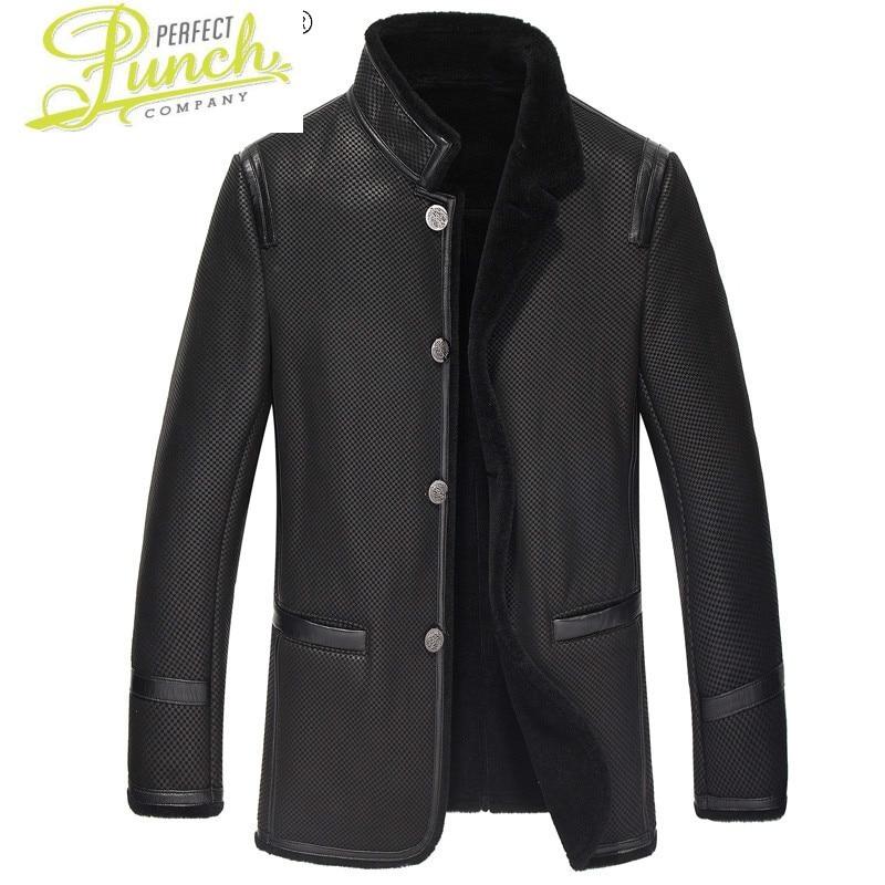 سترة الرجال الشتاء ملابس للرجال جلد الغنم الحقيقي سترات من الجلد 100% الصوف الفراء الملابس معطف دافئ الرجال أوم Veste LXR447