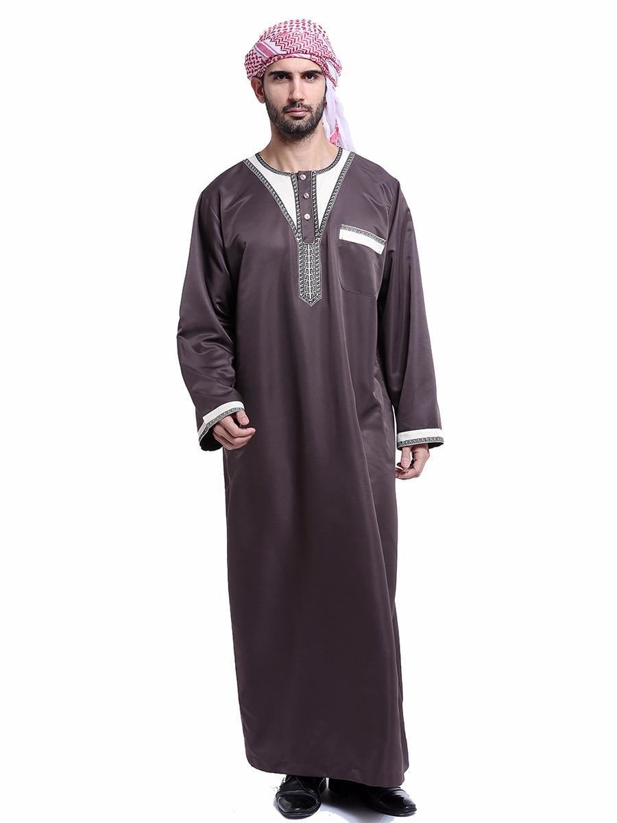 Muslim Islamic Clothing Men Jubba Thobe Pocket O Neck Kimono Long Robe Saudi Musulman Wear Abaya Caftan Islam Dubai Arab Dress