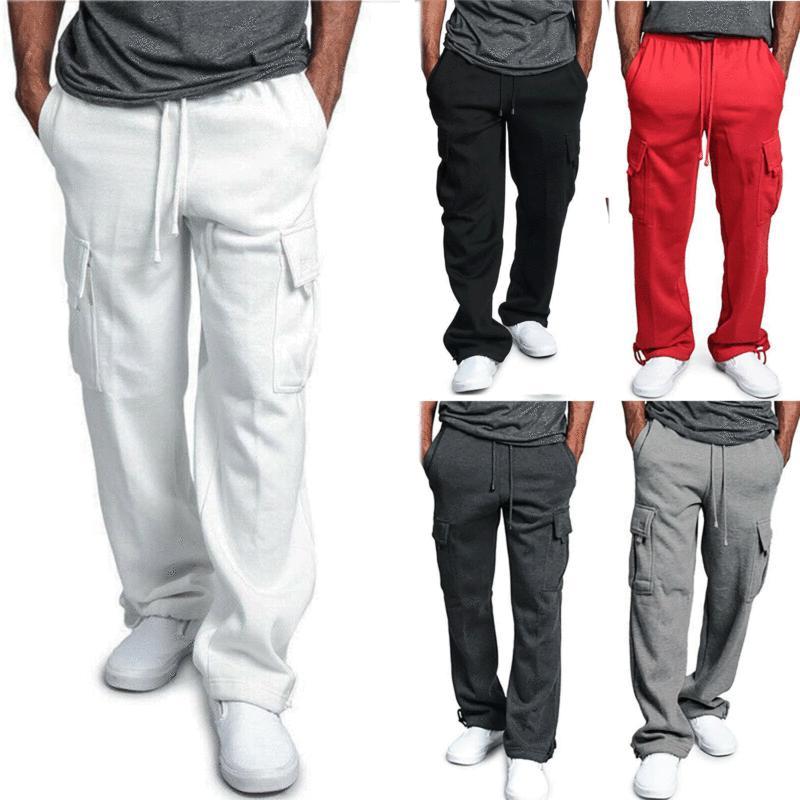 Брюки мужские флисовые, джоггеры, брюки-карго, боевые спортивные штаны, повседневные свободные брюки с карманами, Спортивные прямые штаны