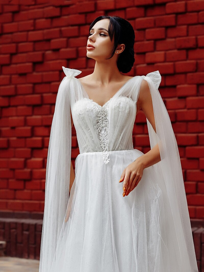 Lacing Back Glitter Tulle V Neck Wedding Bride Dress 2021 Appliqued Bridal Gown With Shoulder Cape Bling Custom Made Plus Size