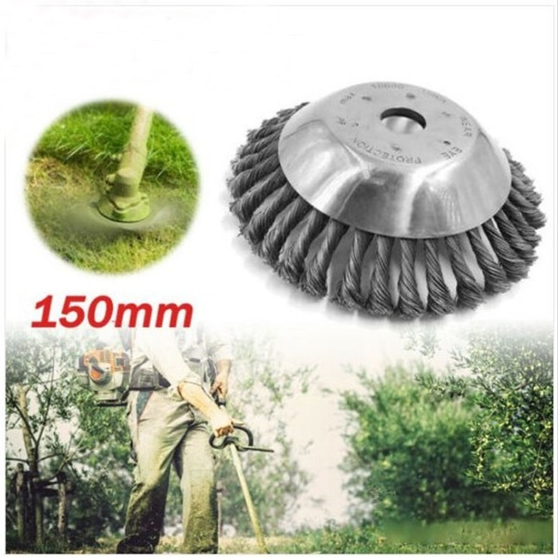 150mm Grass Trimmer Head Steel Wire Mover Brush Cutter Parts Dust Rusting Removal Weeding Wheel for Garden Lawn Mover Power Tool