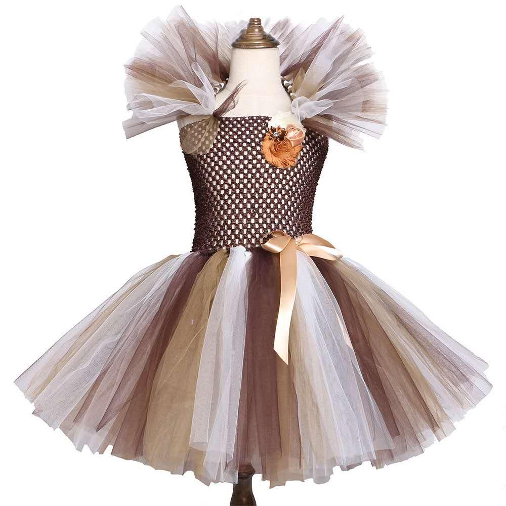 Brown Animal Girl Dress Lion Children Princess Costume for Girls Kids Halloween Carvinal Tutu Dresses Ball Gown
